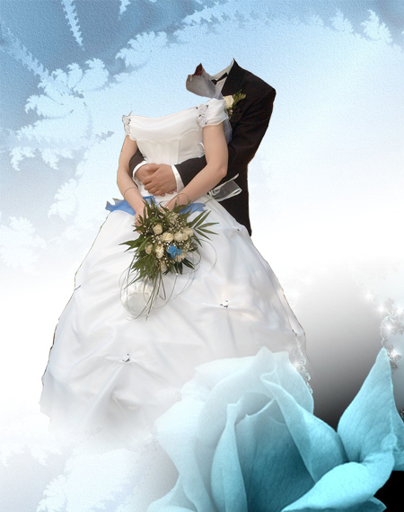 Шаблоны для фотомонтажа - Жених и невеста с букетом.